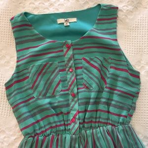 Ya LA Mint and Pink Striped Fit and Flare Dress